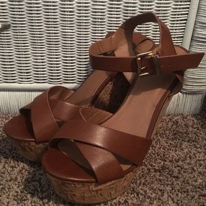 Shoes - Brown Strappy Wedges
